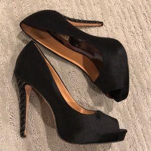 Badgley Mischka Shoes - Badgley Mischka Satin Peeptoe Heels